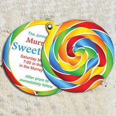 Customize these 4 1/4 inch Sweet Lollipop Invitations with all of your #SugarBuzz information.