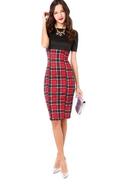 Plaid Skirt Combo Dress in Red Plaid