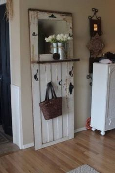 """If I can't remove the entry way closet to make room for an entry way table this type of """"look"""" might work on the smaller wall. ~ Dishfunctional Designs: New Takes On Old Doors: Salvaged Doors Repurposed Old Door Projects, Home Projects, Old Door Crafts, Diy Crafts, Repurposed Furniture, Diy Furniture, Entryway Furniture, Furniture Vintage, Luxury Furniture"""