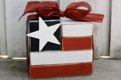 Make this darling wood block flag for just a few dollars! #sixsistersstuff #decor