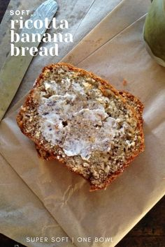 This Ricotta Banana Bread recipe is over the top delicious, great any time of year and highly recommended with a swirl of soft butter on top. #bananabread #ricotta #bananabreadrecipe #banana