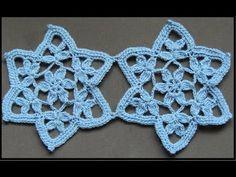 Crochet : Motivo Estrella con Flor. Parte 2 de 2                                                                                                                                                     Más