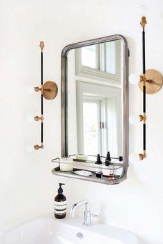 industrial bath mirror and light fixtures
