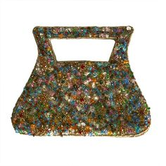 1970's french jewel like embroidered evening hand bag | From a collection of rare vintage handbags and purses at http://www.1stdibs.com/fashion/accessories/handbags-purses/