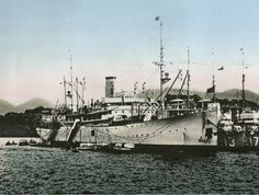 USS Black Hawk (AD-9) tending destroyers at Chefoo, China, in 1939, visible alongside are USS Whipple (DD-217) and USS Barker (DD-213).