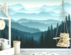 Removable Peel 'n Stick Wallpaper, Self-Adhesive Wall Mural, 3D Mountain Mural Wallpaper, Nursery • Ombre Blue Mountain Pine Forest Trees #texturedwallideas #Blue #forest #Mountain #Mural #Nursery #Ombre #Peel #Pine #Removable #SelfAdhesive #Stick #texturedwallideaswallpapers #Trees #Wall #wallideas #Wallpaper #wandideen