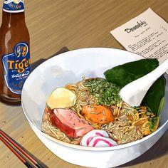 anime food Momofuku Ramen by Culinary Illustrator Amber Day Aesthetic Food, Aesthetic Anime, Ghibli, Amber Day, Japon Illustration, Food Sketch, Food Cartoon, Food Drawing, Anime Scenery