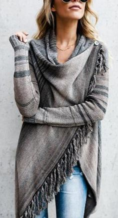 Gray Striped Single Button Tassel Asymmetrical Shawl