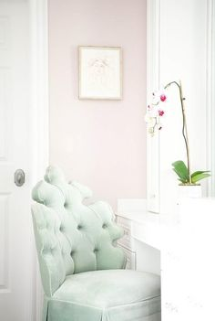 """Mix a mint green chair and blush walls to achieve Austin Bean Design Studio's """"cottage chic."""" (Photographed by Alyssa Rosenheck) Accent Chairs Under 100, Teal Accent Chair, Accent Walls, Blush Walls, Pink Walls, Living Room Green, Living Room Chairs, Mint Green Furniture, Adirondack Chairs For Sale"""