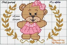 Cross Stitch Baby, Cross Stitch Charts, Creative Embroidery, Perler Patterns, Pixel Art, Teddy Bear, Google, Bb, Instagram