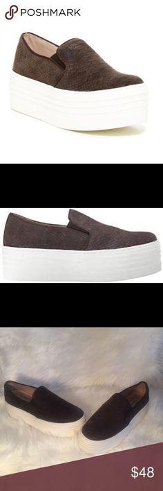 """Steve Madden Bellie Platform Sneaker Steve Madden - Bellie Platform Sneaker   Brown snake  embossed suede slip-on with 2"""" platform. Steve Madden Shoes Sneakers"""