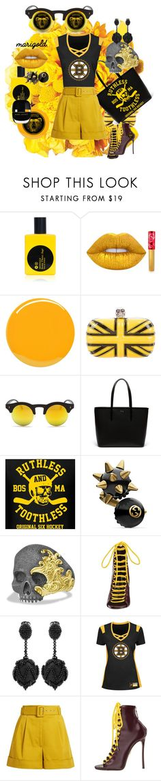 """Black and Gold til I'm dead and cold"" by kellyjpickle ❤ liked on Polyvore featuring Comme des Garçons, Lime Crime, Yves Saint Laurent, Alexander McQueen, Sunny Rebel, Lacoste, Gucci, David Yurman, Dsquared2 and Oscar de la Renta"