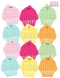Too cute - might have to do this for Rachel and Alyssa....Free Downloadable 2014 Cupcake calendar