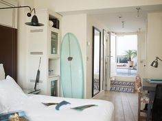 Open, beach bedroom.