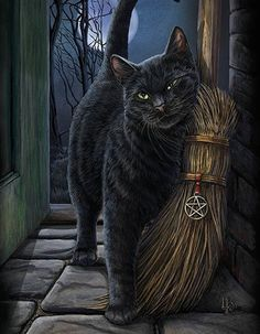 Black Cat Wall Plaque Art Print Lisa Parker Brush With Magick - Black Cat with Broom Besom Canvas Art Print