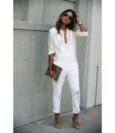 White Jeans Outfit Collection spring white jeans outfit fab fashion fix White Jeans Outfit. Here is White Jeans Outfit Collection for you. White Jeans Outfit spring white jeans outfit fab fashion fix. Mode Outfits, Chic Outfits, Spring Outfits, Fashionable Outfits, Denim Outfits, Denim Overalls Outfit, Buckle Outfits, Outfits 2016, White Jeans
