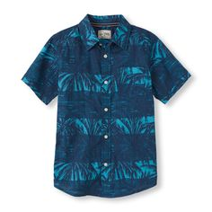 Get him in the spirit of sunny weather with this dressy palm tree shirt!