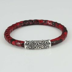 Red Python Leather Bracelet for Man Woman w 925 Sterling Silver Magnetic Clasp #Handmade #Cuff