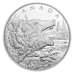 1/2 Kilogram Fine Silver Coin - Roaring Grizzly Bear - Mintage: 600 (2016) Canadian Coins, Old Coins, Silver Coins, Stamps, Mint, Bear, Pure Products, Animals, Dibujo