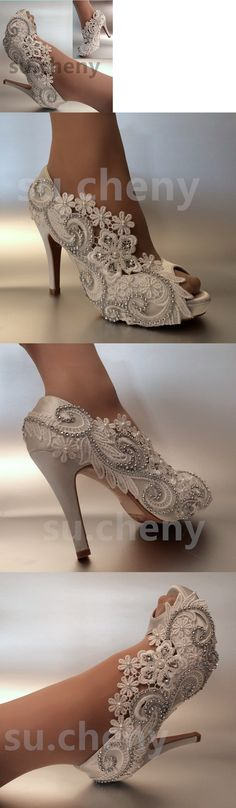 81169fdb7e9d Wedding Shoes And Bridal Shoes  34 Heel Satin White Ivory Lace Pearls Open  Toe Wedding