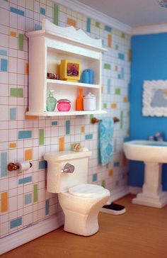 The Doll House  Loo - love the wallpaper!