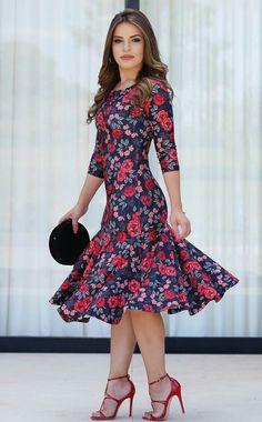 Que babado !! Pretty Dresses, Beautiful Dresses, Modest Fashion, Fashion Dresses, Short Dresses, Summer Dresses, Western Dresses, Floral Chiffon, Elegant Outfit