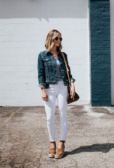 White Jeans + Taking Chances | my kind of sweet | spring style | the best white denim | women's fashion | outfit ideas | how to wear white | espadrille wedges | denim jacket | levis | AG | Louis Vuitton | casual style | mom style | summer style #style #fashion