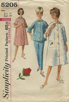 Vintage Sewing Pattern | Pajamas and Robe | Simplicity 5205 | Year 1963 | Bust 34 | Waist 26 | Hip 36
