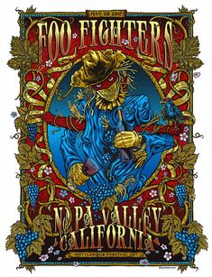 Rare Mini Print/Poster - Size: A4 (Approximately: 21 cm x 29.7 cm) 8.27 inches x 11.7 inches. Foo Fighters, Concert Posters, Napa Valley, Poster Prints, The Unit, Mini, Gig Poster