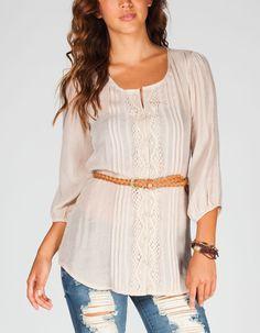 FULL TILT Womens Belted Peasant Top 219638151 | Blouses & Shirts | Tillys.com