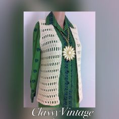 Handmade vintage sweater vest This is light besiege in color and I believe it's made from wool. Big thick open weave. No  flaws - size small  bust 32 to 34. Length  23 inches Vintage Sweaters