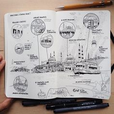 hat makes Istanbul great? Here are my thoughts. Istanbul, Travel Essentials List, Travel Sketchbook, Architecture Sketchbook, Drawing Sketches, Drawings, Sketch Journal, Tinta China, Travel Drawing