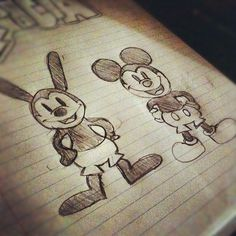 I absolutely adore these brothers, Oswald the Lucky Rabbit and Mickey Mouse!  Have a Magical day! (:  - http://triciaaalicious.tumblr.com