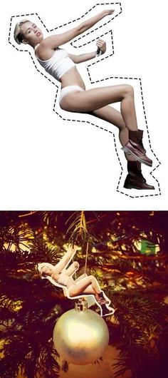 """They're singing 'Deck The Halls' but it's not like Christmas at all"""" ... without Miley Cyrus twerk your xmas tree. Print & cut-out. Merry Xmas!"""