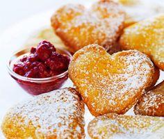 Vanilla Hearts with raspberries