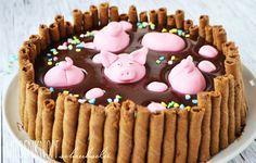 Death by Chocolate Silvestertorte mit Schweinchen <3 Silvester Party, Party Time, Birthday Cake, Treats, Blog, German, Tasty, Kitchens, Baking
