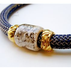 Blue Rope & Ceramic Bead Necklace #rope jewelry