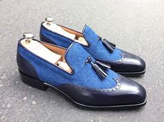 Denim and leather shoes, jeans fabric, handmade loafer shoes bespoke tussle formal leather slippers office shoes , pure leather monk strap shoes, office shoes Leather Jeans, Black Leather Shoes, Soft Leather, Denim, Mocassins Luxe, Loafer Shoes, Loafers Men, Brogues, Men Dress