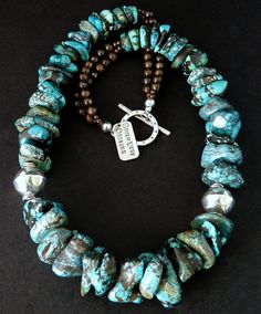 Antique Tibetan Turquoise Nugget Necklace with Bronzite and Handcrafted Sterling Silver