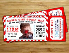 Circus Party Invitation / invite - Personalized DIY vintage circus ticket birthday party decorations. $12.00, via Etsy.