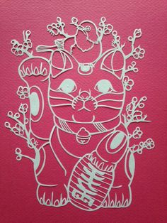 Fortune cat, Paper cutting art by Ton