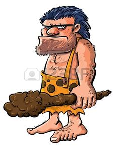 Cartoon caveman with a club.Isolated on white