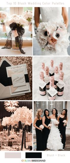 Wedding Themes Top 10 Blush Wedding Color Palettes - Blush and Black - blush pink combines well with many other colors. The top 10 blush wedding color palettes to help you create a perfect wedding day to never forget! Blush Pink And Black Wedding, Pink Black Weddings, Black Wedding Themes, Blush Wedding Colors, Mauve Wedding, Wedding Color Schemes, Blush Color, Wedding Black, Glamorous Wedding