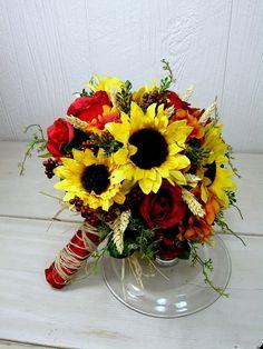 fall sunflower wheat bridal bouquet by gardensidestudio, via Flickr