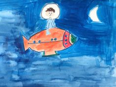 Spaceman boy Exploring Space blue Moon by LilyMoonsigns on Etsy