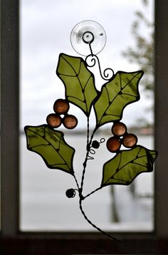 Holly Branch Stained Glass Suncatcher by dortdesigns on Etsy