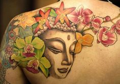 Colorful buddha and flowers tattoo on back