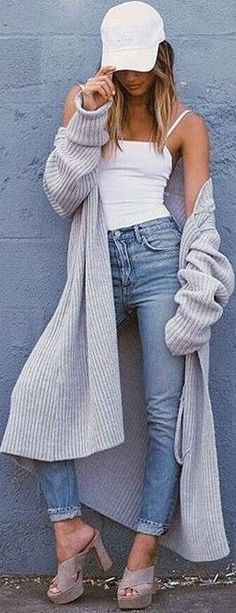 #fall #trending #outfits |  Grey + White + Denim