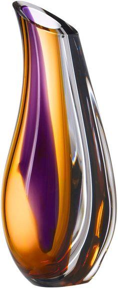 Kosta Boda Orchid Vase Lilac/amber Large by Göran Wärff Orchid Vase, Flowers Vase, Purple Vase, Purple Gold, Purple Home Decor, Kosta Boda, Crystal Vase, Nordstrom, Objet D'art