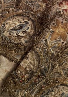 Detail of C gauntlets probably made in Denmark. Couture Embroidery, Gold Embroidery, Hand Embroidery Designs, Vintage Embroidery, Embroidery Patterns, Textiles, Medieval Embroidery, Lesage, Antique Clothing